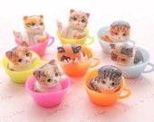 Kittens in Colorful Cups Miniature Figurine (to make Charms and Decoden or Fairy Garden) - 2pcs