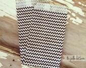 mini black chevron zig zag paper bags, set of 10