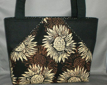 Fabric Tote Bag - Purse -Sunflower - Sassy Pockets