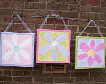 "Set of 3 original canvas paintings ""daisy trio"" girl kid room decor..baby nursery wall art....painted artwork..12 x 12 flower pink purple"