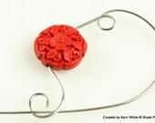 Red Cinnabar Flower Shawl Pin, Scarf Pin, Brooch - Cinnabar Flower Bead