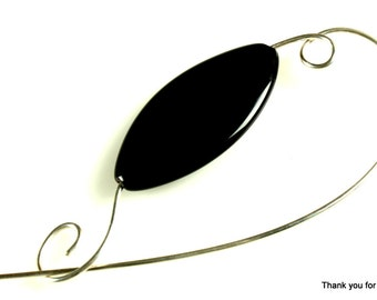 Black Stone Oval Shawl Pin, Scarf Pin, Brooch - Black Stone Oblong Oval Bead with Heavy 18 Gauge Solid Sterling Silver Wire