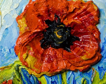 Red Poppy 4x4 Inch Original Impasto Oil Painting by Paris Wyatt Llanso