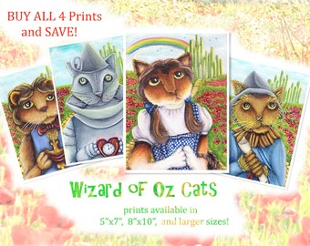 Wizard of Oz, Dorothy, Tin Cat, Scarecrow, and Lion, Four Print Special
