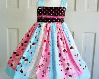 Cupcake Party Dress-Celebration-Portrait-Birthday-Tea Party... Ready to Ship.... 4/5/6