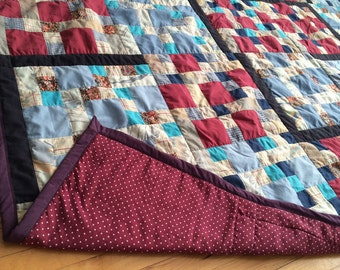 Quilt 82 x 84 in Blue Red Floral Polka Dot patchwork