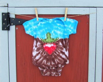 12m Tie Dye Baby Onesie - Little Beet, plus Worm  - Ready to Ship -
