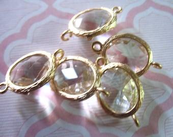 4 pcs, Bezel Links Connectors Charm Pendants, Brass Framed Bezel Set Clear GLASS Stone, Gold or ...