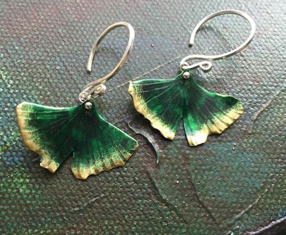 Sm Patina Textured Ginko Leaf - Earrings