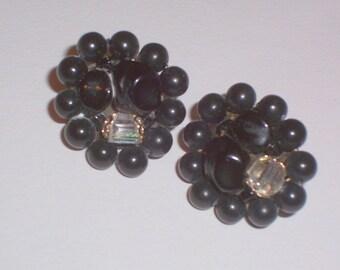 Vintage Black and Aurora Borealis Bead Earrings - Clip Ons