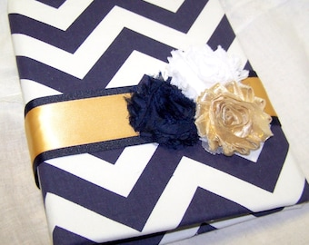 Bridal Shower Guest Book, Advice Book, Navy Blue and Gold, Chevron fabric, Gold Bridal Shower, Custom Colors available