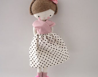 Handmade rag doll , Zoe - ooak cloth art rag doll polka dots skirt. pale pink top and socks made to order