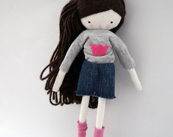 Handmade rag doll , Mia - ooak cloth art rag doll denim short, grey sweater and socks