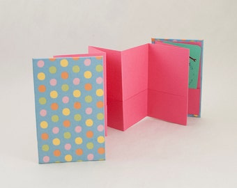 Mini Accordion Book with Pockets to Hold Business Cards, Love Notes or Gift Cards
