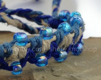 Hemp Macrame Bracelet or Anklet - Natural and Shades of Blue - Beaded - Adjustable Hemp Jewelry - 5 1/2 to 10 Inches