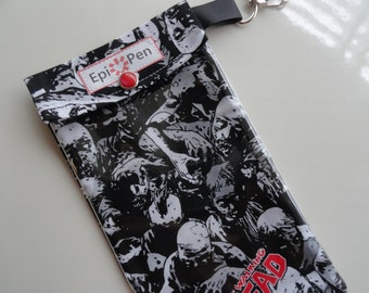 Epi Pen Case with Clear Pocket and Clip 4x8 Holds 2 Allergy Pens - Walking Dead Zombie Fabric Pouch