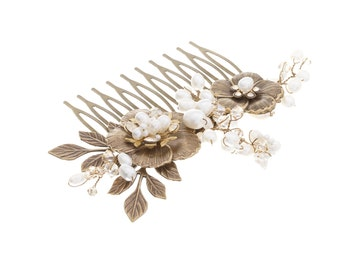 Bridal Hair Comb, Bridal Hair Accessories,  Wedding Hair Piece , Antique Hair Comb, Floral Hair Comb ,Vintage wedding