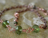 Faceted Moss Green Beads and Copper Chain Anklet