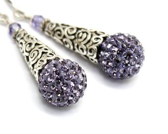 Tanzanite Earrings Amethyst Rhinestones Swarovski Crystal Sterling Bali Style Cones Violet Post Stud Earrings