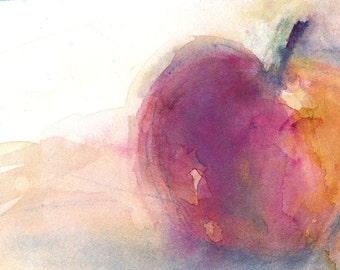 Original  Watercolor Painting - Red Apple - Art Size: 5 x 7 perfect for  any kitchen wall.
