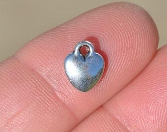 BULK 50  Silver 10mm Heart Charms SC5037