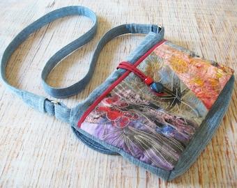Patchwork and upcycled denim hip bag, cross body bag, multicolor purse, OOAK denim bag, blue red purse
