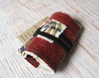Canvas Holder for Business Cards or Credit Cards, Upcycled Painting, Trifold Wallet, Card Case