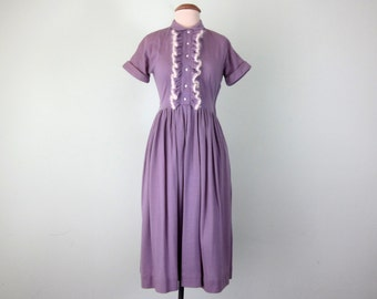 40s lilac wool knit fitted waist ruffle short sleeve dress (xs - s)