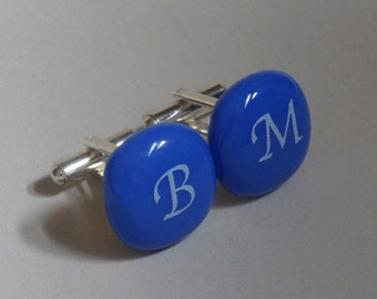 Monogrammed Cufflinks - Custom - White initials on periwinkle glass
