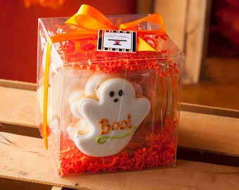 Halloween Cookie Gift Cube, Ghost, Pumpkin, Bat, Candy Corn - 12 Decorated Sugar Cookies