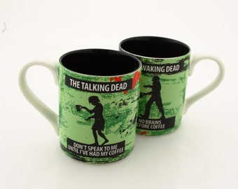 walking dead -  zombie lovers -  gift for couples, can be personalized, waking dead, talking dead, mr and mrs mugs, gift for couple