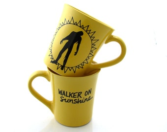 The walking dead - walking on sunshine - zombie mug -  funny mug -  large mug - katrina and the waves - 80s music - ONE mug only