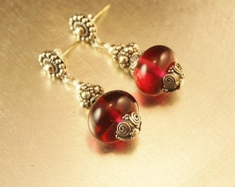 The Farandole Sterling Silver, and Fuschia Lampwork Glass Bead Earrings -Bali Silver Bead, Cap and Post Earrings
