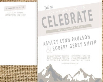 Mountain Wedding Invitation Suite |  Custom Colors and Text | Invitation with RSVP Card and Envelopes with Return address