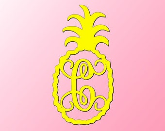 Unfinished Wood Pineapple Vine Monogram in 22 inch tall