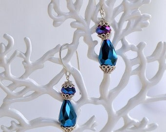 Peacock Blue And Purple Earrings