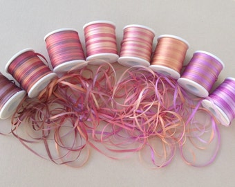 Blossom mix - 24 metres of 2mm variegated silk ribbon