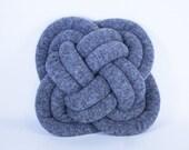 Turk's Head Notknot pillow in heathered grey