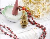Shurangama hulu (unisex) necklace - purple aventurine, agate, robles hulu and mantra