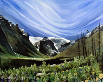 Montana Landscape Painting  - Stretched Canvas Giclee Gallery Wrap