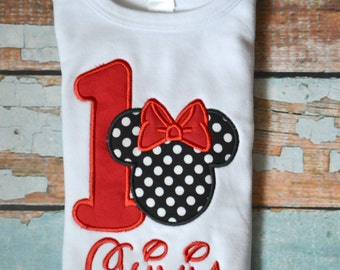 Minnie Mouse Birthday Shirt, Red Minnie Mouse Birthday Shirt, Polka Dot Minnie Mouse, Girls Birthday Shirt