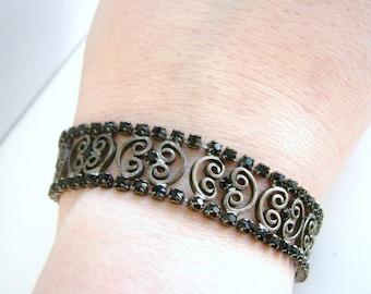 Vintage Carolee deco atyle silver scroll bracelet with blackrhinestones