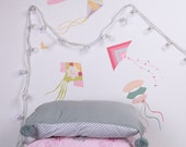 On Sale - Fly a Kite Fabric Wall Decal(Pinks) (reusable) NO PVC