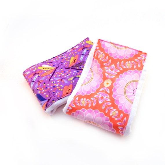 Girl Burp Cloths - Purple Diaper Burp Cloths, Set of 2 Flowers Dragonflies Orange // Cotton Diaper Burp Cloth / Baby Shower Gift