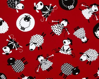 Sheep Knitting 100% Cotton Fabric by the Yard Red & Black C9182