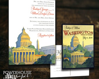 Washington DC Vintage Postcard Wedding Invitation