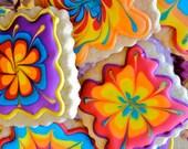 Tie dye cookies- Sugar Cookies-Spring,Colorful, Marions vintage bakery, boho cookies, hippie cookies,mod,neon cookies