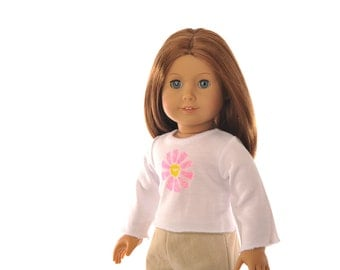 "white T shirt, American Girl 18"" doll clothes, long sleeves, pink yellow flower, casual wear, modern, hand painted clothing by PattiKuz"