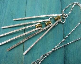 Sterling silver fringe fidget necklace pendant, silver bar stick necklace, abstract unusual boho modern minimalist artisan handmade jewelry