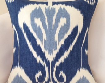 Indigo Blue Pillow Cover Decorative Pillow Throw Pillow Cushion Accent Kravet